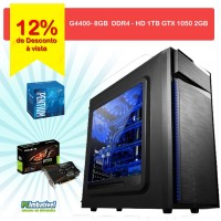 000 - CPU PCIMBATIVEL, INTEL G4400 Geforce GT 1050 2GB, 8GB DDR4, 1TB, FONTE 500W
